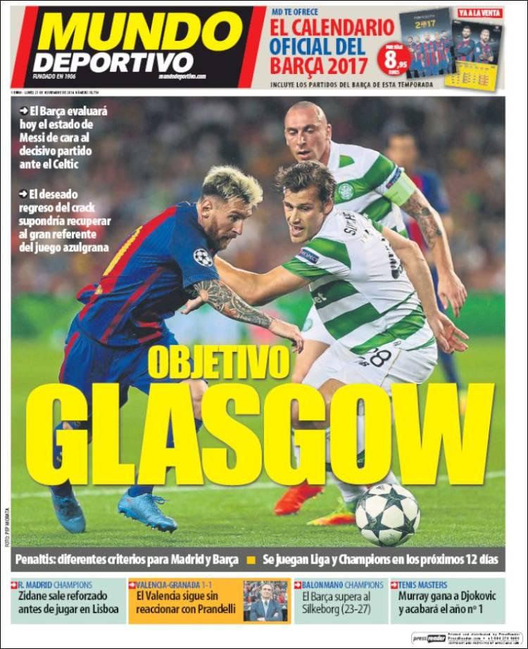 portada Mundo Deportivo prensa deportiva 21 11 2016
