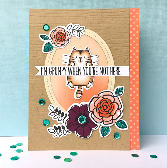 I Knead You and Pretty Posies stamp sets and Die-namics and Single Stitch Line Oval Frames Die-namics - Lynn Put #mftstamps