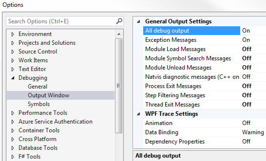 visual studio debug tab turn off isexpress.exe messages
