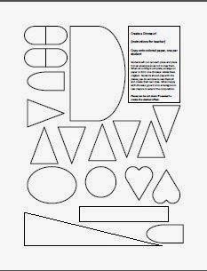 Art worksheet with shapes to make animals in kindergarten