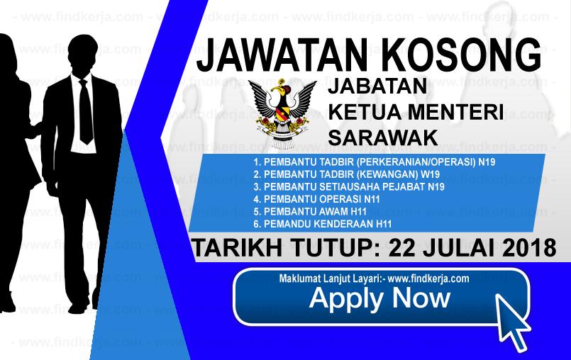 Jawatan Kerja Kosong Jabatan Ketua Menteri Sarawak logo www.ohjob.info www.findkerja.com julai 2018