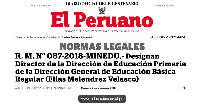 R. M. N° 087-2018-MINEDU - Designan Director de la Dirección de Educación Primaria de la Dirección General de Educación Básica Regular (Elias Melendrez Velasco) www.minedu.gob.pe