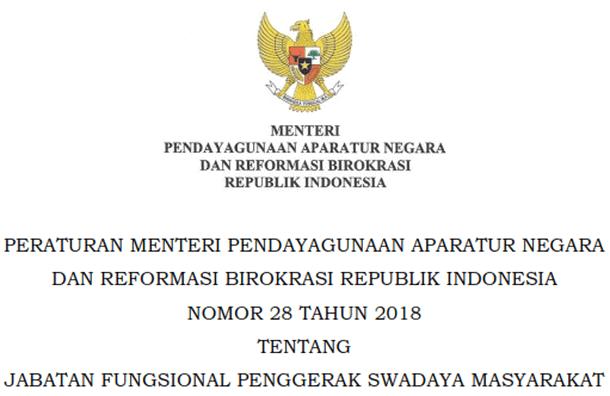 Permenpanrb Nomor 28 Tahun 2018 Tentang Jabatan Fungsional Penggerak Swadaya Masyarakat