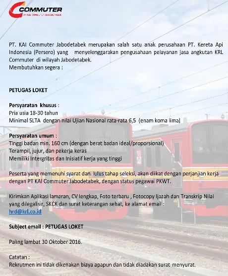 Lowongan Kerja SMA PT KAI Commuter Jabodetabek