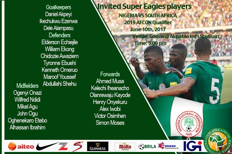 AFCON 2019 Qualifier: Onazi, Echiejile, 21 others to battle Bafana Bafana