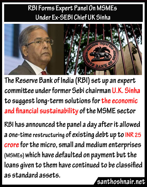 RBI forms expert panel on MSMEs under Ex-SEBI chief UK Sinha