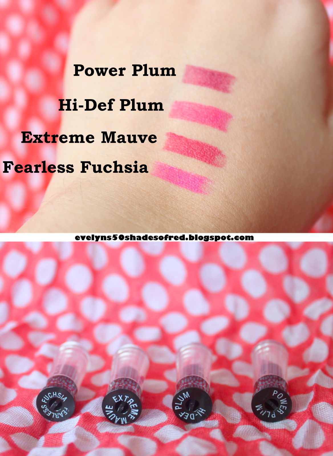 AVON ULTRA COLOUR BOLD Fearless Fuchsia Extreme Mauve, Hi-Def Plum Power Plum