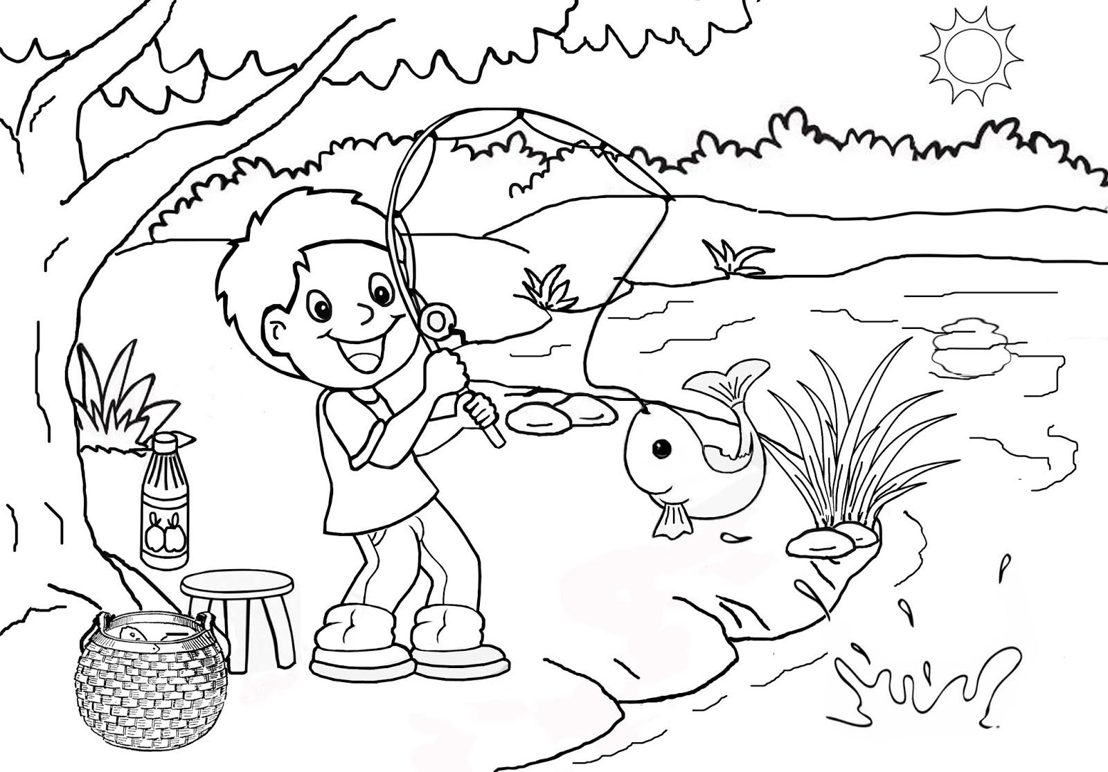 Coloring And Drawing Mewarnai Pemandangan Mewarnai Gambar
