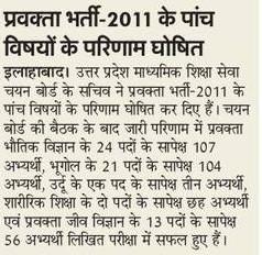 Pravakta Bharti 2011 Result Ghoshit