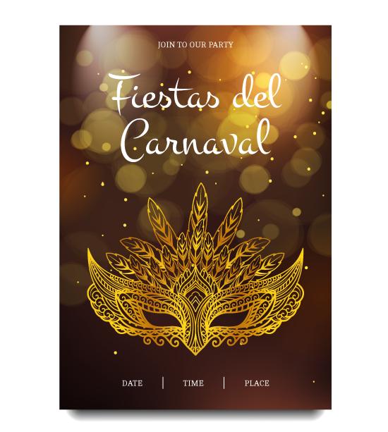 Cartel de carnaval dorado y luminoso