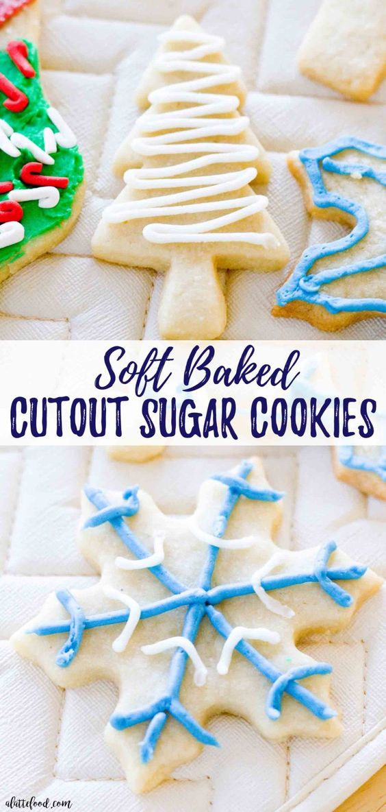 Soft-Baked Cutout Sugar Cookies: These soft rollout sugar cookies have Christmas and New Years written all over them! It's the perfect Christmas cookie recipe, if you ask me. These Cutout Sugar Cookies are made with homemade frosting and are such a simple classic christmas cookie recipe. #dessert #christmas #cookies #recipe