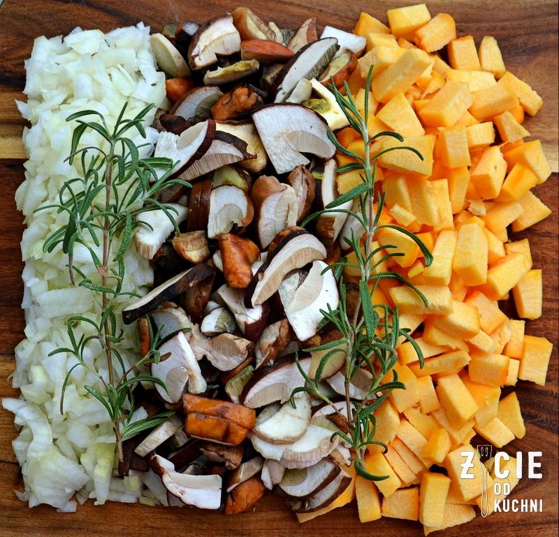 skladniki na risotto, risotto z grzybami, dynia, jesienne danie, danie z ryzu, risotto, zycie od kuchni