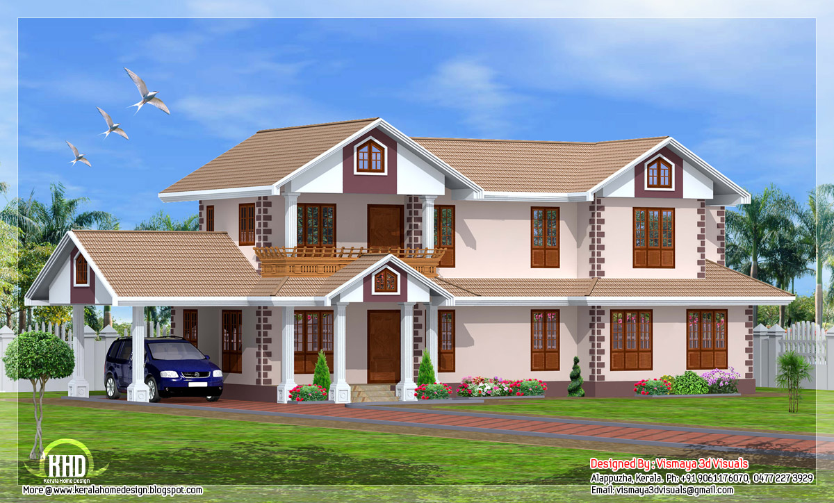 Two storey kerala model 2261 house kerala home for Kerala 3d home floor plans