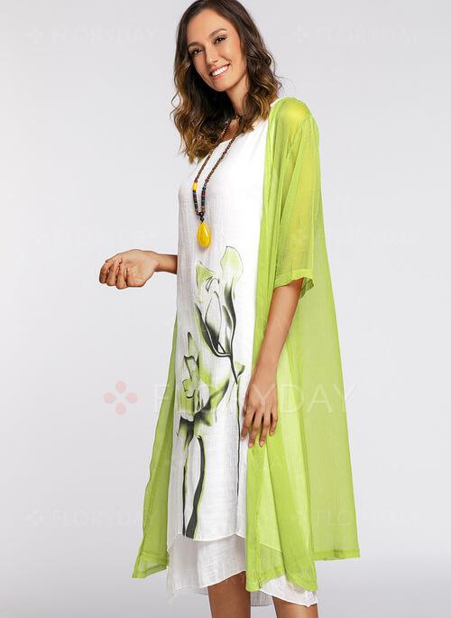 Floral Sleeves Midi Shift Dress