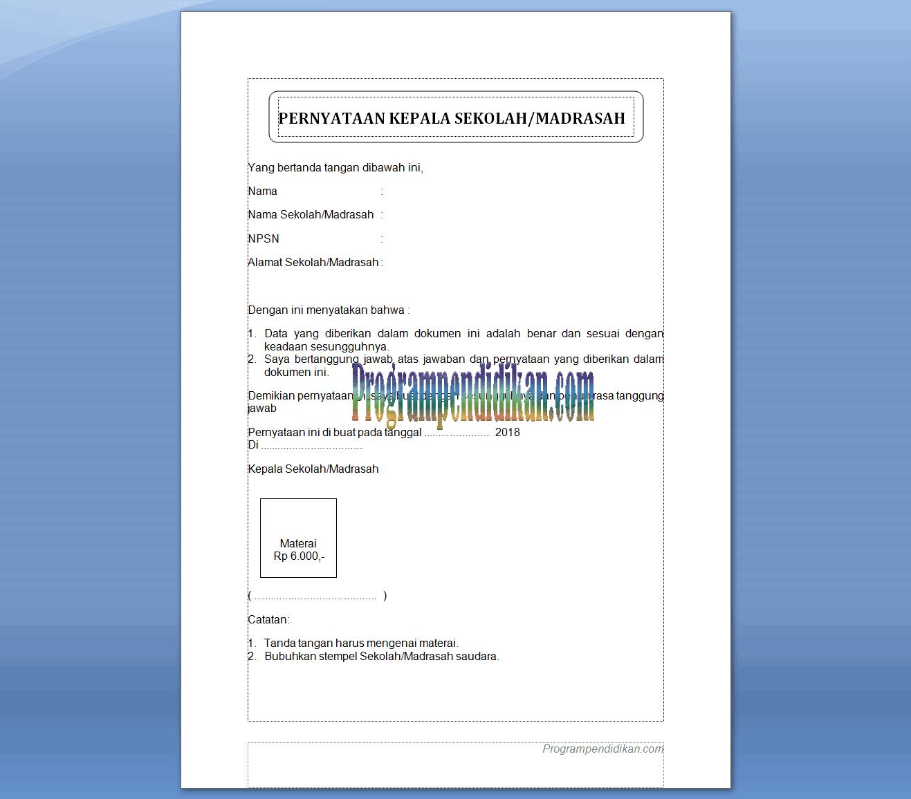 Surat Pernyataan Kebenaran Dokumen Akreditasi Tahun 2018