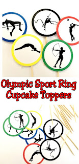Celebrate with the athletes at the Summer Olympics by doing what they can't--eating cupcakes.  But be sure to dress them up in style with these printable cupcake toppers featuring the colors of the Olympic rings and silhouettes of our favorite Olympic sports.