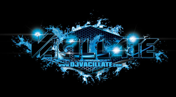 DJ Vacillate Logo Design Black And Blue Variation