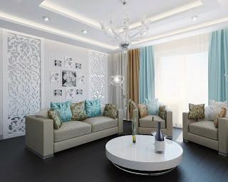 decoración sala turquesa