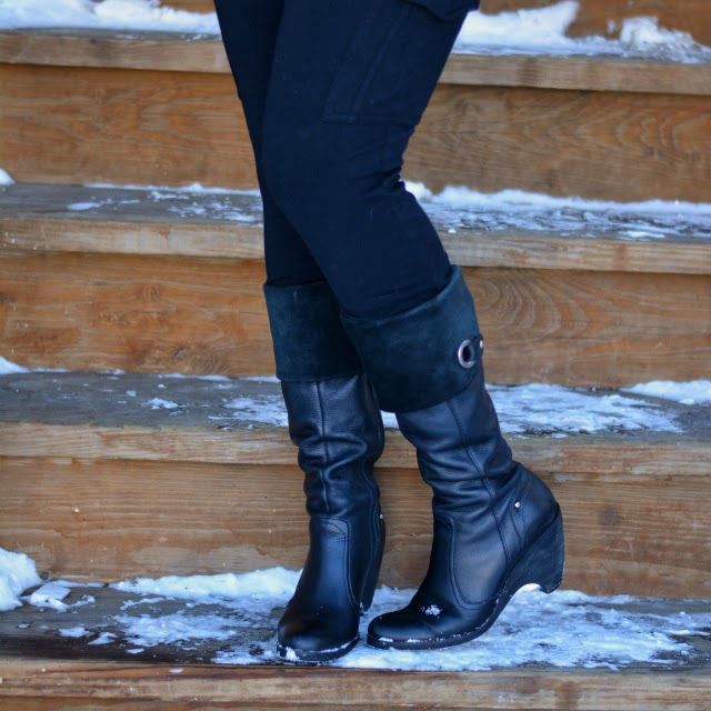 cargo leggings tall wedge boots