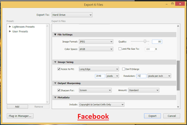 Facebook image Lightroom export