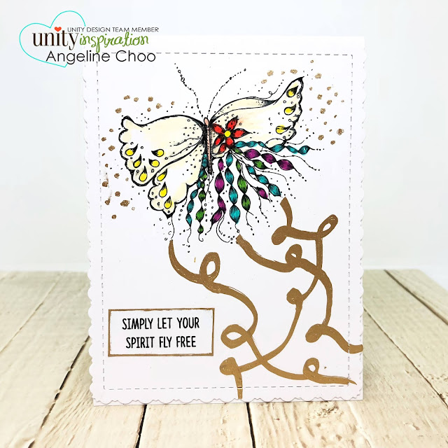 ScrappyScrappy: Red & Gold with Unity Stamp - Life Should Be #scrappyscrappy #unitystampco #prismacolor #goldleafing #krylon #quicktipvideo #youtube #butterfly