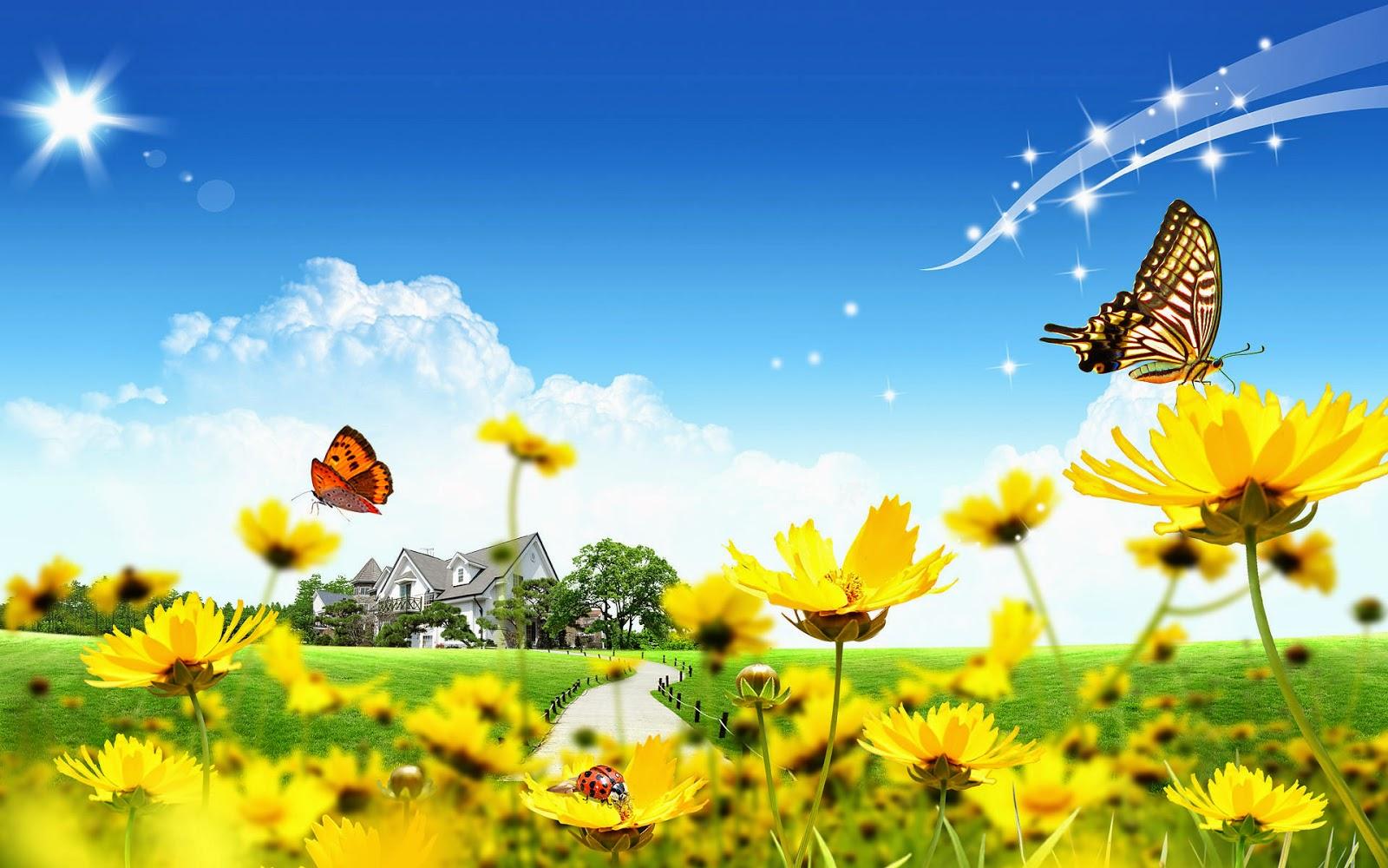 Zomer afbeelding met bloemen en dieren