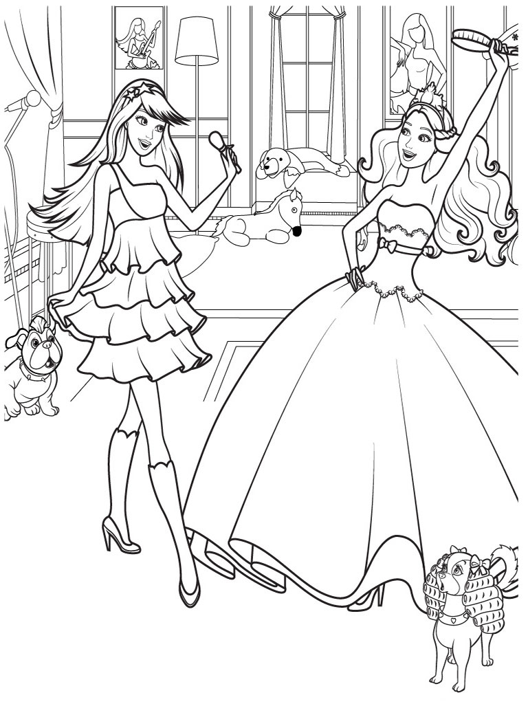 Best Cartoon 4 U: 12 Barbie Dancing Coloring Pages | 1024x768