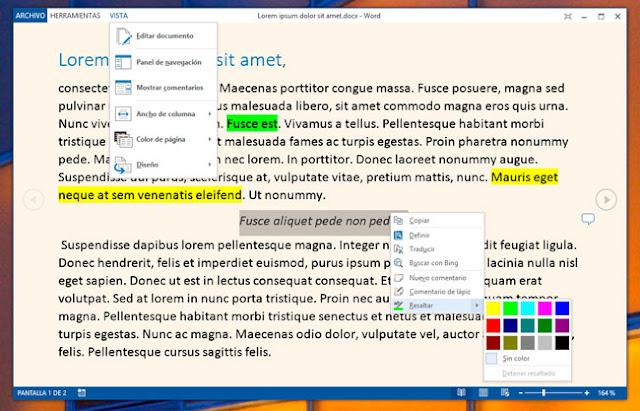 Utiliza el modo de lectura de Word 2013