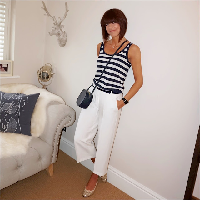 My midlife fashion, j crew striped linen tank top, iris and ink leather shoulder bag, marks and spencer cropped culottes, french sole henriette gold glitter ballet Pumps