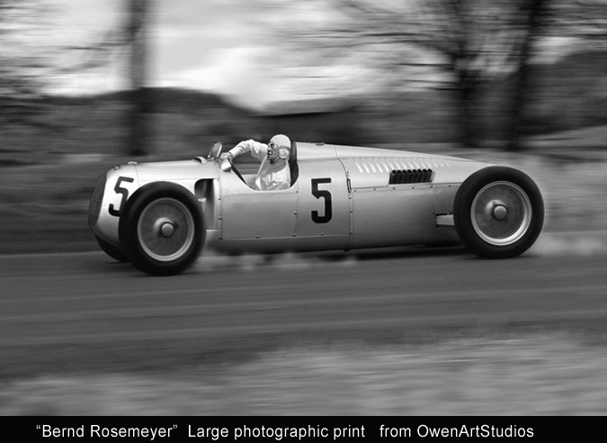 Owen Art Studios vintage photo print of Auto Union Silver Arrow V-16 Grand Prix car