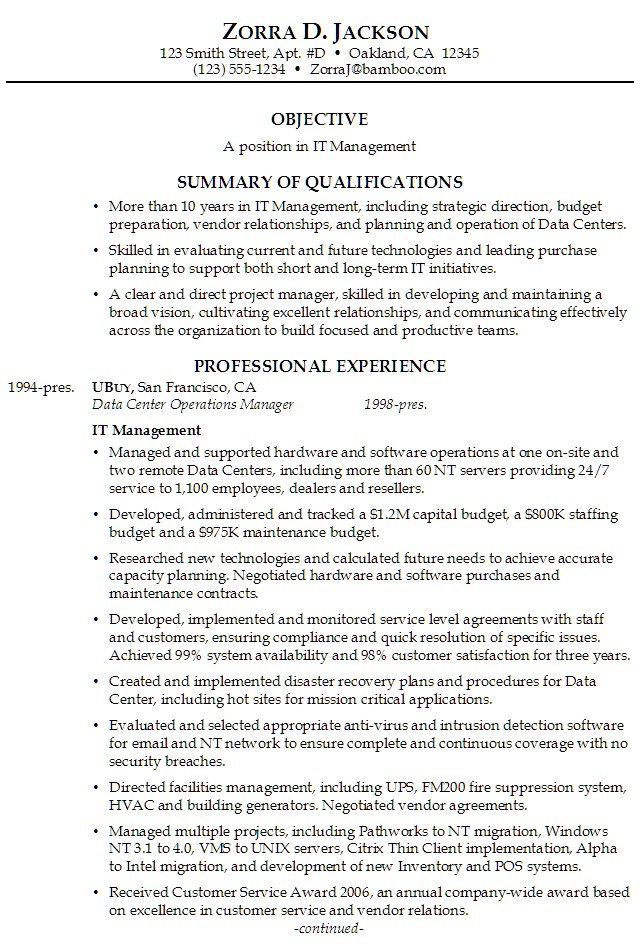 Good Summary For Resume Examples. Information Technology