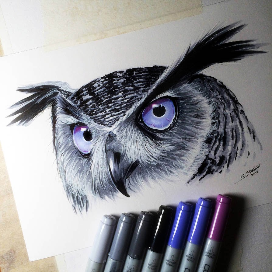 10-Owl-C-Straver-Fantasy-Movie-Characters-Drawings-www-designstack-co