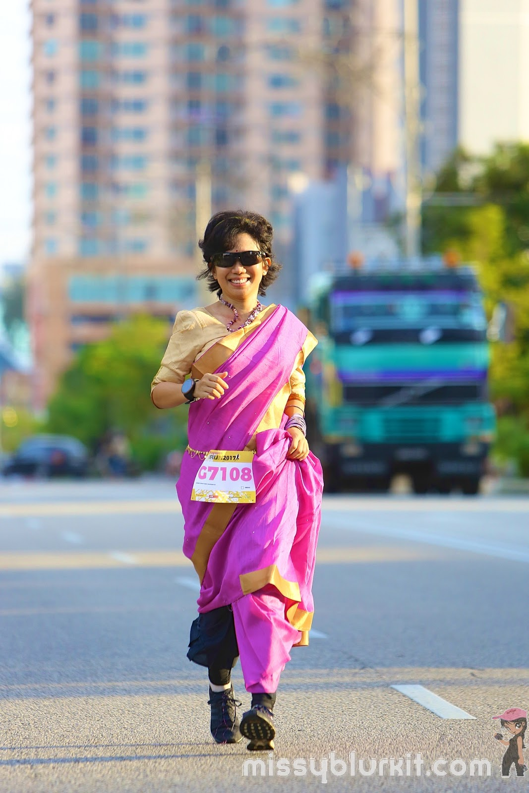running in a saree