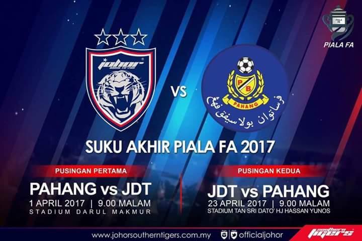 Live Streaming Suku Akhir ke-2 Piala FA JDT Vs Pahang [23/April/2017]