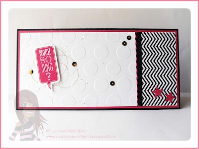 Stampin' Up! rosa Mädchen Kulmbach: Geburtstagskarte mit Ganz schön aufgeblasen, Sprechblase, Designerpapier und Prägefolder Große Punkte