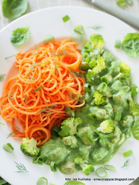 mieso w sosie, zielony sos, co na obiad, domowe jedzenie, marchewka, marchewkowe spaghetti, zamiast makaronu, makaron warzywny, warzywa, zielono mi, dietetycznie, najsmaczniejsze, domowe jedzenie