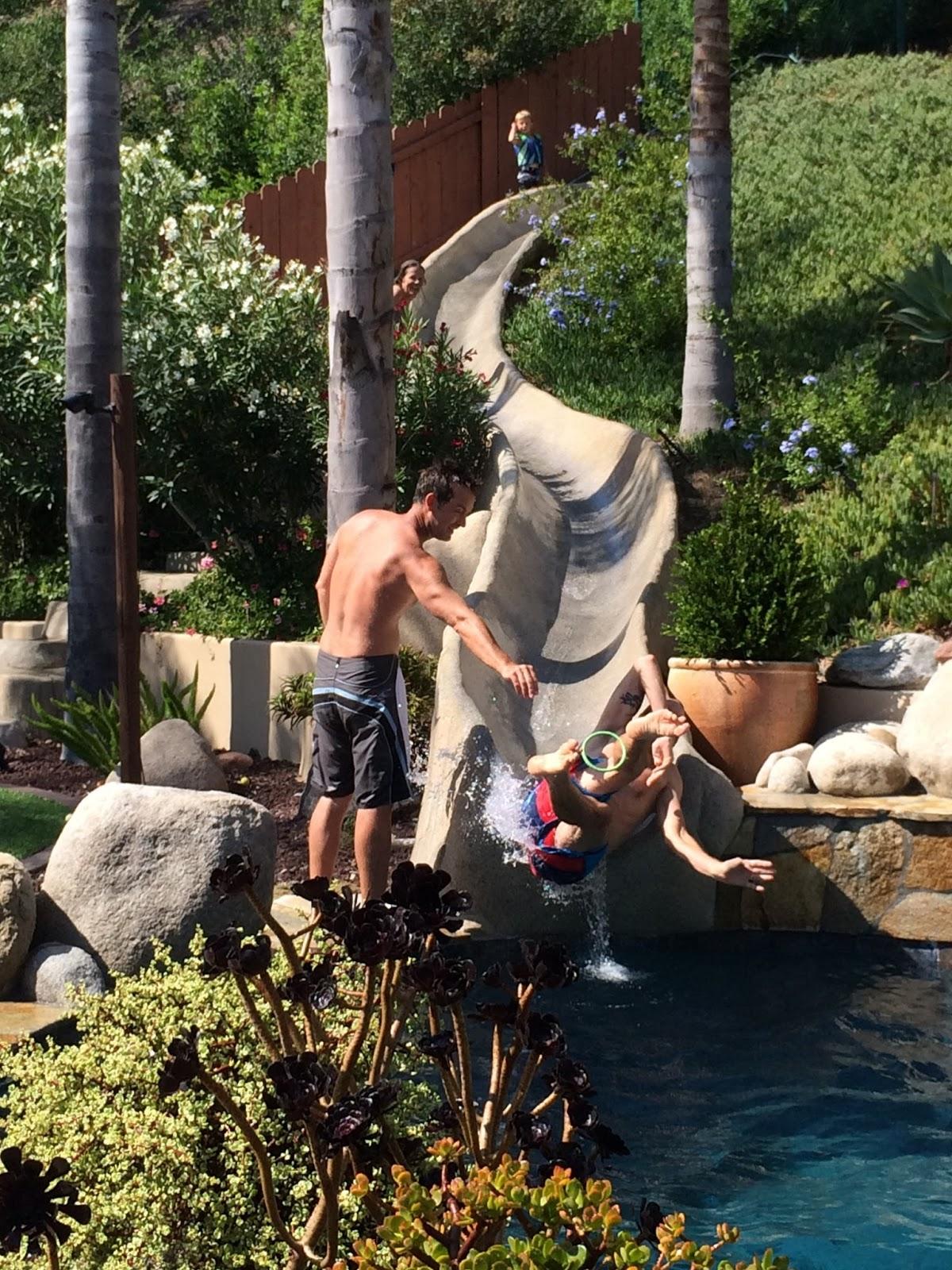 Pool slide hook up