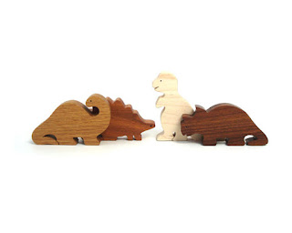 Waldorf 4 piece wood toy dinosaurs