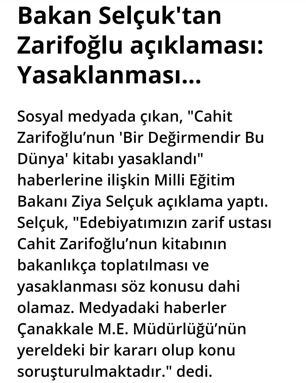 Bakan Selçuk cahit zarifoğlu açıklaması