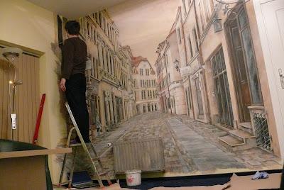 Artystyczne malarstwo ścienne, wąska uliczka w perspektywie, Toruń, ul szewska