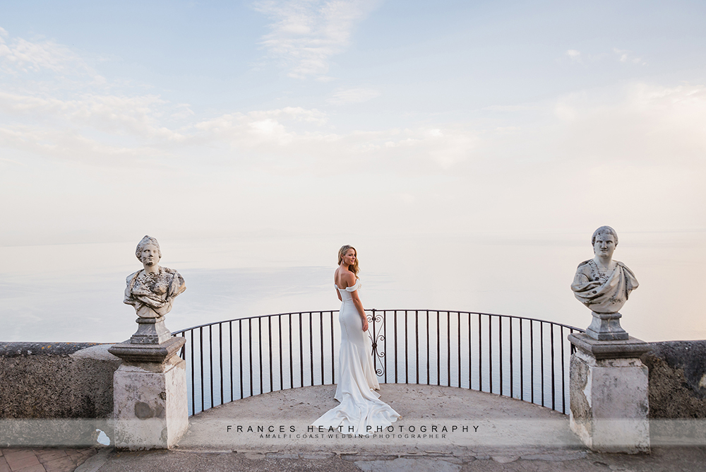 Bride portrait on infinity terrace at Villa Cimbrone