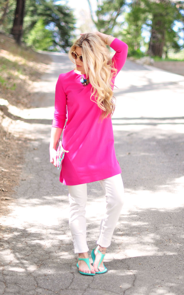 Summer brights, pink and aqua, tibi dress, marc jacobs floral pouch, crocs sandals
