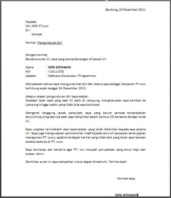 Contoh Surat Resign Bank