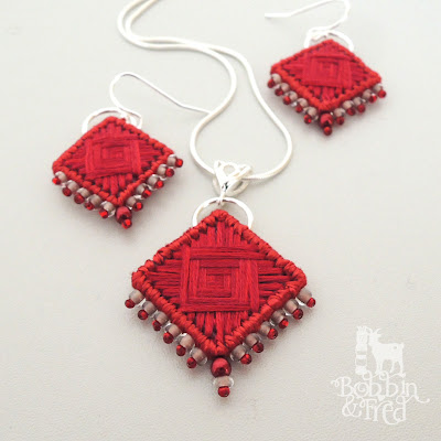 Red hand stitch, bead and sterling silver necklace and earring set