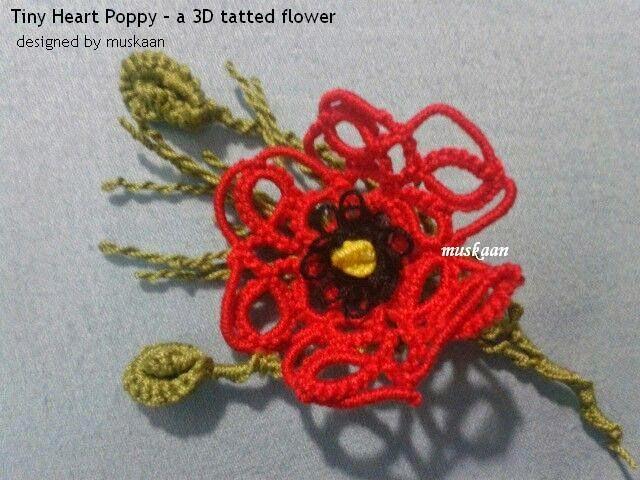 Muskaans Tips Tatting Pattern Tiny Heart Poppy Part 1