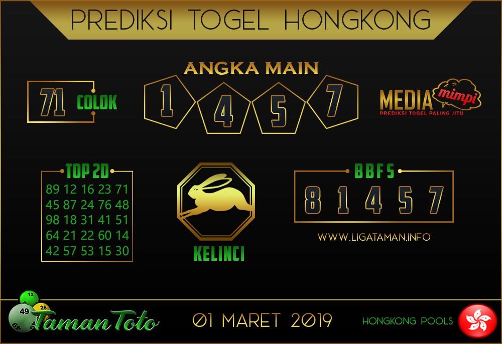 Prediksi Togel HONGKONG TAMAN TOTO 01 MARET 2019