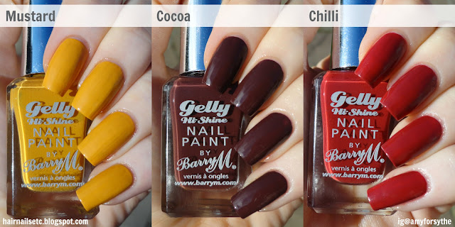 Barry M Gelly Nail Paint for Autumn Winter 2014 in Mustard, Chilli and Cocoa - swatches and review