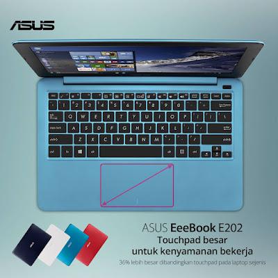Touchpad Asus E202 Lebih Besar