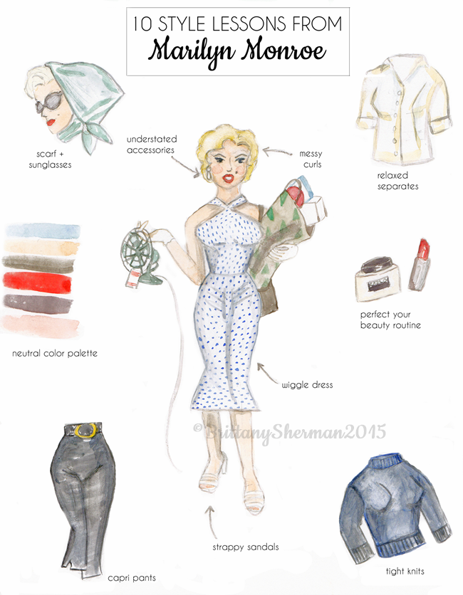 10 style lessons from Marilyn Monroe watercolor fashion art print by Brittany Sherman 2015 at Wacky Tuna on etsy