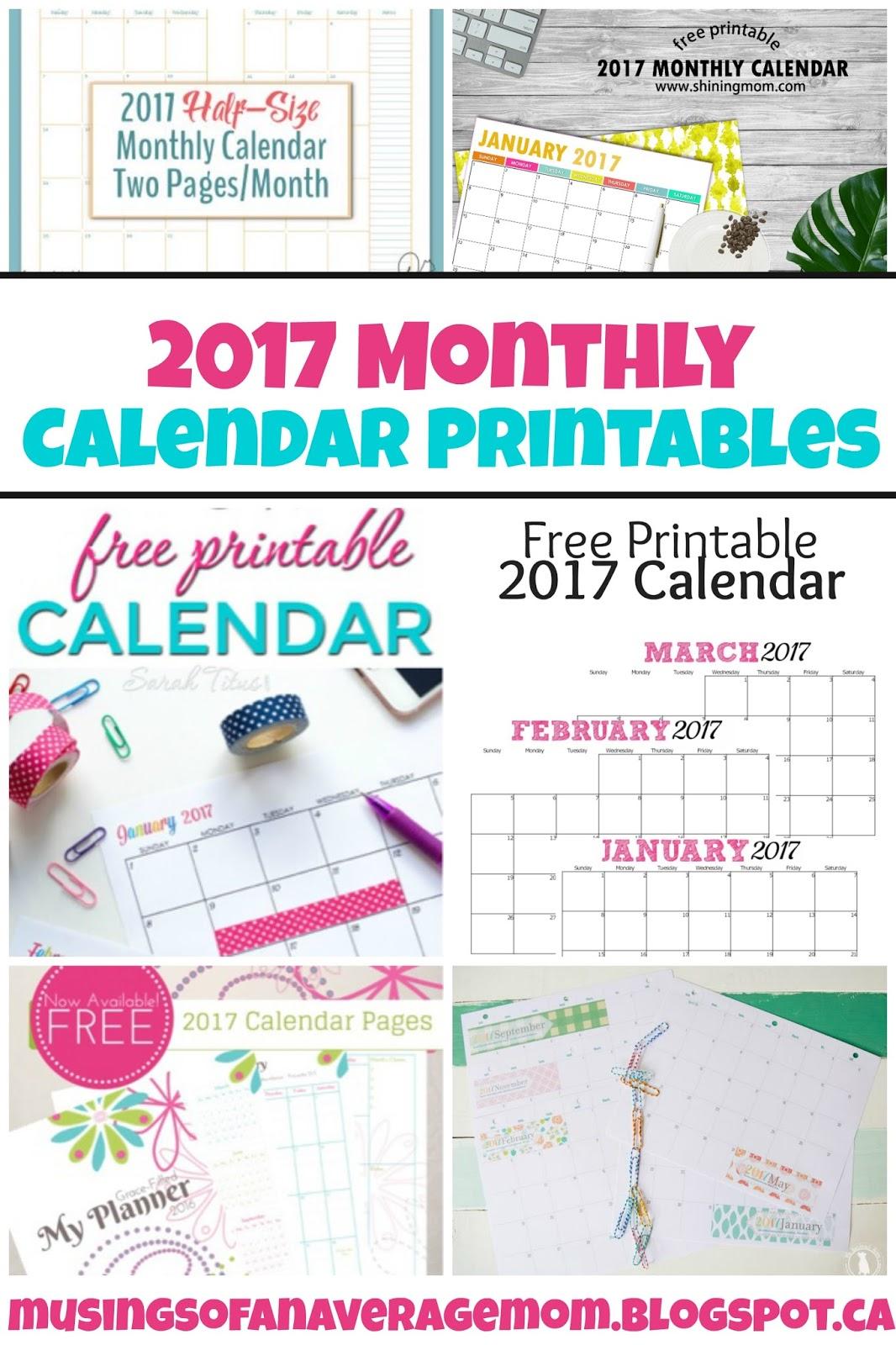 free printable calendars 2017